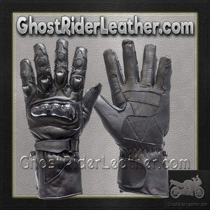 Mens Hard Knuckle Leather Gauntlet Gloves / SKU GRL-GLZ10-DL-leather gloves-Ghost Rider Leather