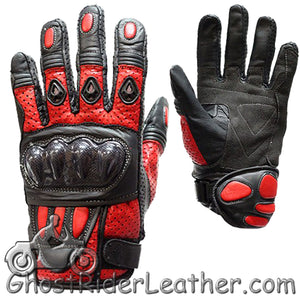 Mens Hard Knuckle Leather Gauntlet Gloves In Red - White - Blue - Black - SKU GRL-GLZ36-DL-leather gloves-Ghost Rider Leather