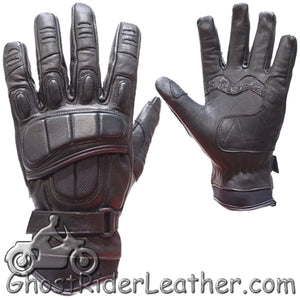 Mens Padded Premium Leather Racing Gloves With Tight Grip Strip - SKU GRL-GLZ37-DL-leather riding gloves-Ghost Rider Leather
