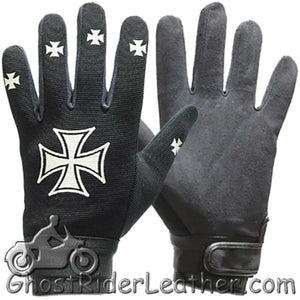 Mechanics Gloves with Iron Cross Design - SKU GRL-GLZ46-DL