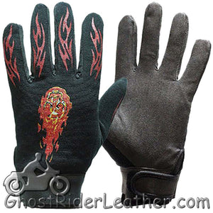 Mechanics Gloves with Flames - SKU GRL-GLZ49-DL - Ghost Rider Leather