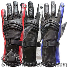 Ladies Leather Gauntlet Gloves in Red White or Blue - SKU GRL-GLZ60-DL - Ghost Rider Leather