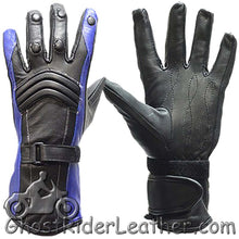 Ladies Leather Gauntlet Gloves in Red White or Blue - SKU GRL-GLZ60-DL