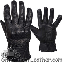 Mens Perforated Short Leather Racing Gloves With Hard Knuckles - SKU GRL-GLZ66-DL - Ghost Rider Leather