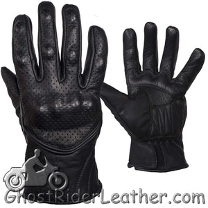 Mens Perforated Short Leather Racing Gloves With Hard Knuckles - SKU GRL-GLZ66-DL-leather gloves-Ghost Rider Leather