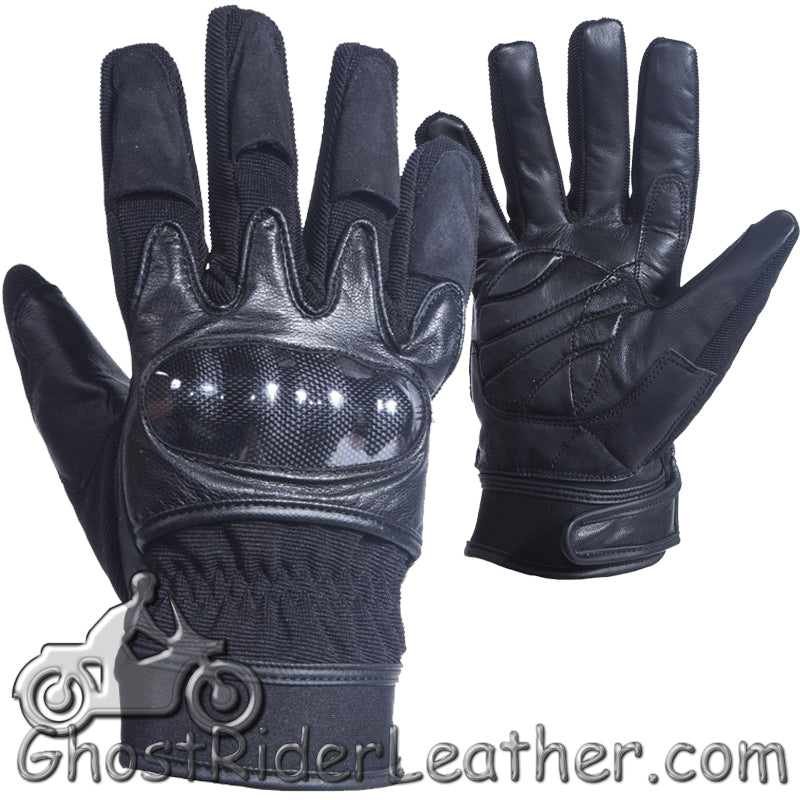 Mens Hard Knuckle Leather Suede and Textile Motorcycle Gloves - SKU GRL-GLZ79-DL-leather gloves-Ghost Rider Leather