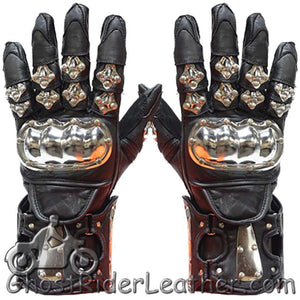 Mens Leather and Metal Gauntlet Racing Gloves - SKU GRL-GLZ8-DL
