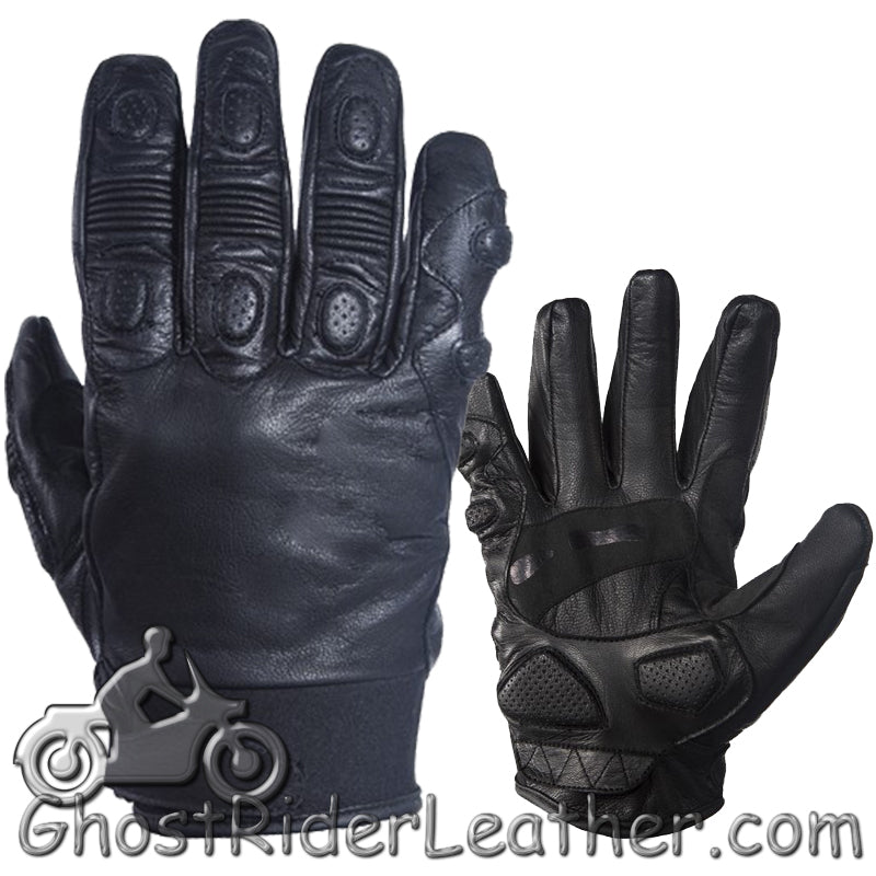 Full Finger Soft Leather Padded Motorcycle Riding Gloves - SKU GRL-GLZ80-DL-leather riding gloves-Ghost Rider Leather