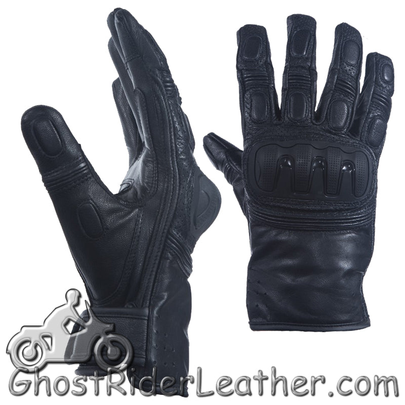 Mens Hard Knuckle Premium Leather Motorcycle Racing Gloves - SKU GRL-GLZ84-DL-leather gloves-Ghost Rider Leather