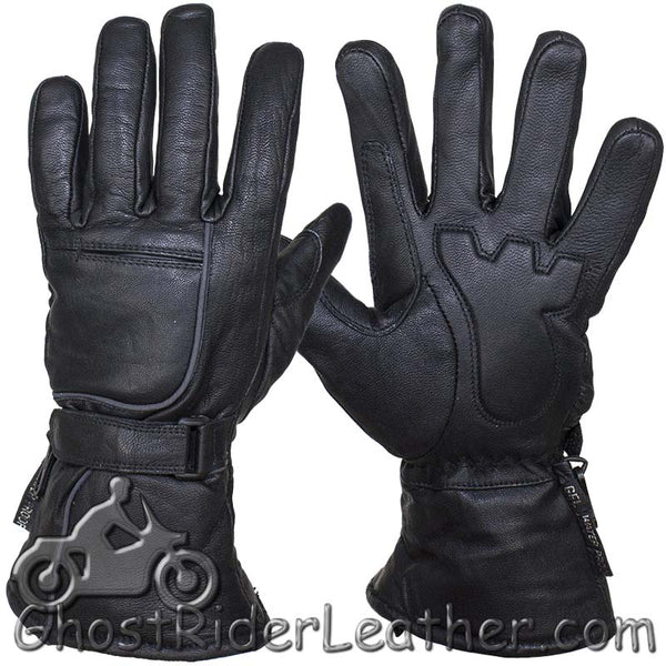 Waterproof and Reflective Full Finger Nappa Leather Riding Gloves - SKU GRL-GLZ85-11N-DL