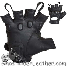 Fingerless Biker Leather Motorcycle Gloves With Knuckle Protection - SKU GRL-GLZ86-DL - Ghost Rider Leather
