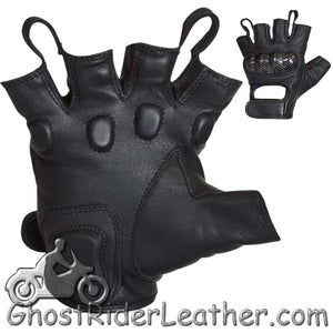 Fingerless Biker Leather Motorcycle Gloves With Knuckle Protection - SKU GRL-GLZ86-DL