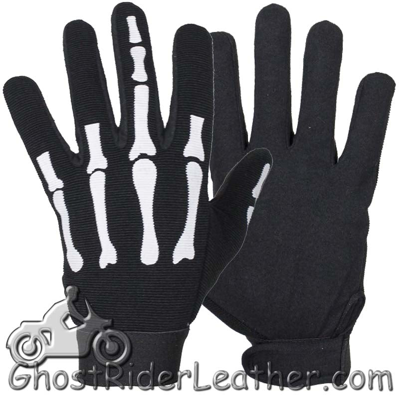Skeleton Hand Mechanics Gloves Giving Middle Finger - SKU GRL-GLZ89-DL