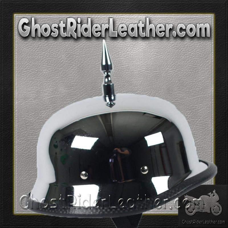3 Inch Spike Chrome German Novelty Motorcycle Helmet / SKU GRL-SPIKE-CHROME-GERM-NOV-HI - Ghost Rider Leather