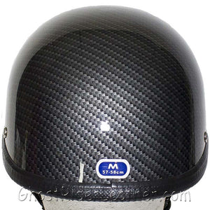 Faux Carbon Fiber LOOK Shorty Motorcycle Novelty Helmet / SKU GRL-H401-CF-DL - Ghost Rider Leather