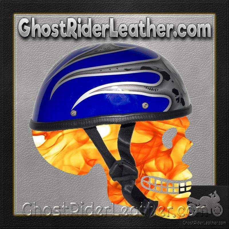 Silver Skull and Blue Flames Novelty Motorcycle Helmet / SKU GRL-H401-D4-BLUE-1-DL