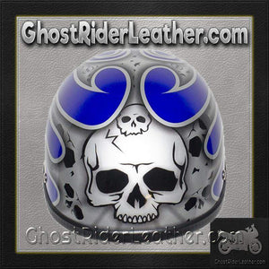 Silver Skull and Blue Flames Novelty Motorcycle Helmet / SKU GRL-H401-D4-BLUE-1-DL-novelty motorcycle helmet-Ghost Rider Leather