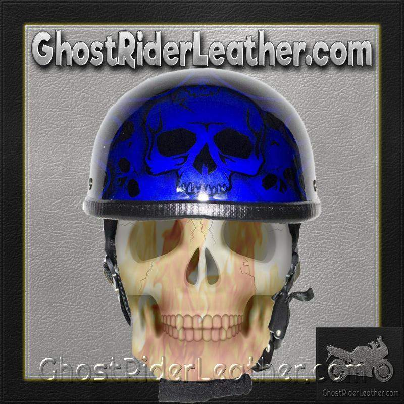 Blue Burning Skull Novelty Motorcycle Helmet / SKU GRL-H401-D4-BLUE-DL - Ghost Rider Leather
