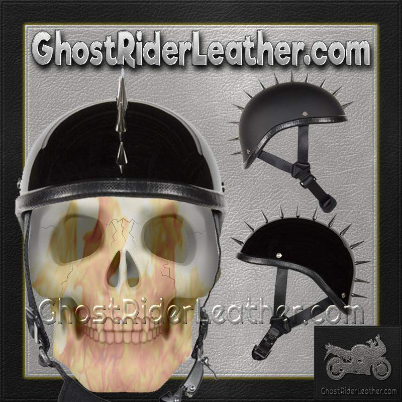 Spiked Gladiator Novelty Motorcycle Helmet in Gloss or Flat Black / SKU GRL-H403-H503-02-DL