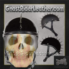 Spiked Gladiator Novelty Motorcycle Helmet in Gloss or Flat Black / SKU GRL-H403-H503-02-DL - Ghost Rider Leather