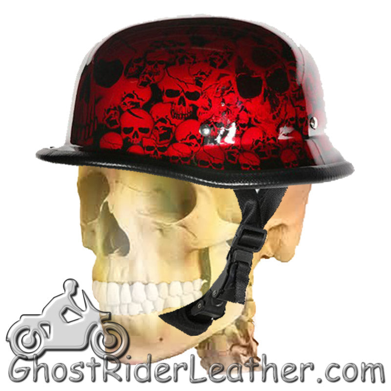 German Novelty Motorcycle Helmet Boneyard Colors - SKU GRL-BY-GERM-NOV-HI - Ghost Rider Leather
