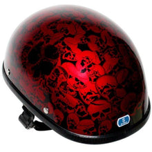 Burgundy Eagle Style Boneyard Novelty Motorcycle Helmet - SKU GRL-H6401-BURG-DL - Ghost Rider Leather