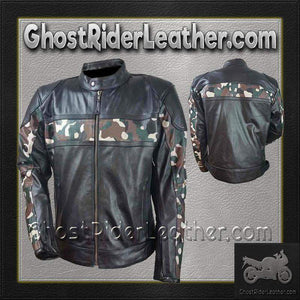 Mens Scooter Leather Jacket with Camouflage / SKU GRL-HMM540-VL-leather jacket-Ghost Rider Leather