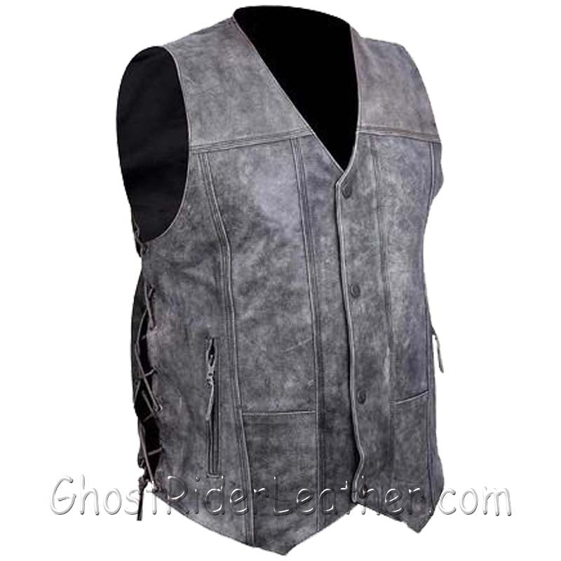 Mens High Mileage Distressed Gray 10 Pocket Leather Vest - SKU GRL-HMM915DG-VL - Ghost Rider Leather