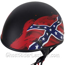 DOT Rebel Flag Motorcycle Helmet - Flat Finish - SKU GRL-HS1100-REBEL-FLAT-DL-motorcycle helmet-Ghost Rider Leather
