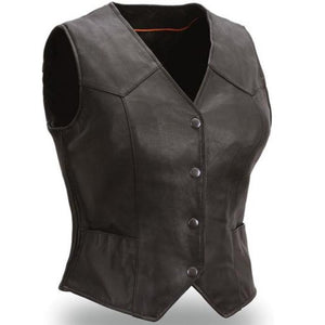 Heiress Womens Leather Motorcycle Vest - FIL540ES - Ghost Rider Leather