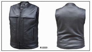 UNIK Men's Ultra Leather Motorcycle Vest - Ghost Rider Leather