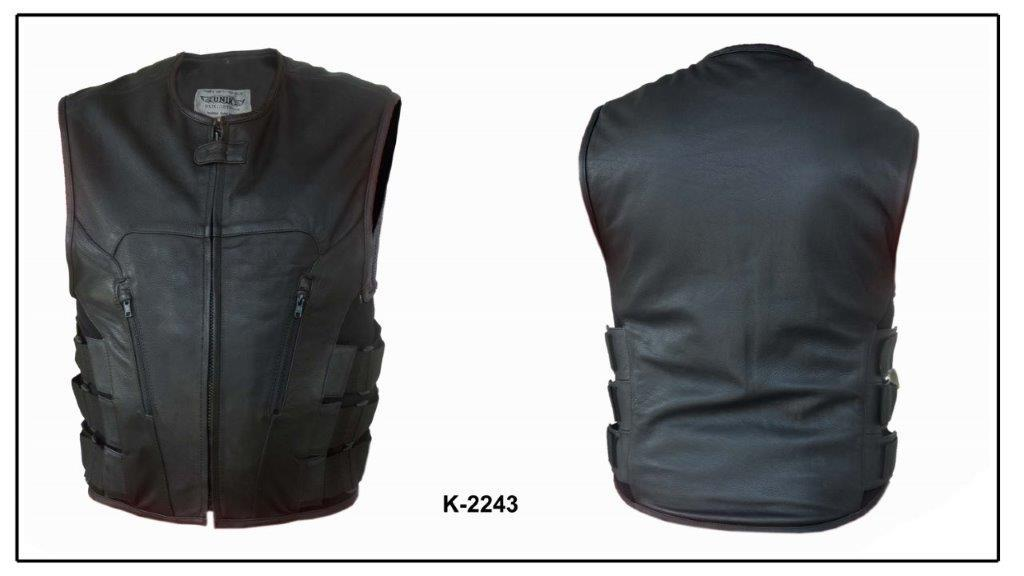 UNIK Men's Premium Leather Motorcycle SWAT Style Vest - Ghost Rider Leather