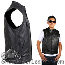 Kids Motorcycle Leather Club Vest - SKU GRL-KD320-DL - Ghost Rider Leather