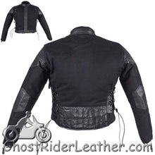 Kids Black Denim and Leather Motorcycle Jacket with Side Laces - SKU GRL-KD345-DL
