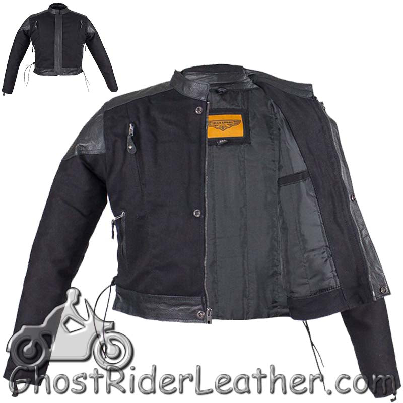 438b58ff7 Kids Black Denim and Leather Motorcycle Jacket with Side Laces - SKU G –  Ghost Rider Leather