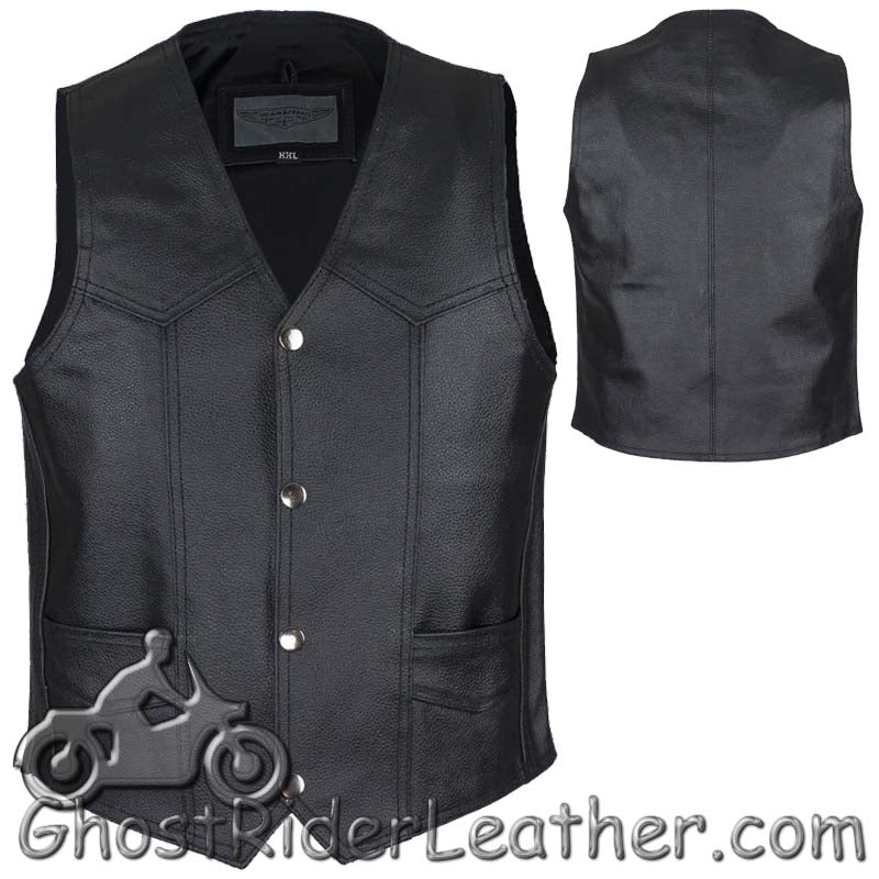 Kids Black Leather Motorcycle Vest with Plain Sides - SKU GRL-KD390-DL
