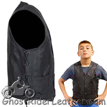 Kids Black Leather Motorcycle Vest with Side Laces - SKU GRL-KD392-DL