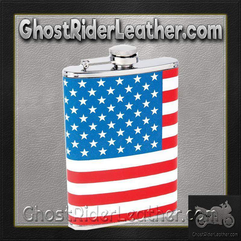Maxam 8oz Stainless Steel Flask with American Flag Wrap / SKU GRL-KTFLKFLG-BN - Ghost Rider Leather
