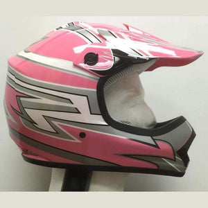 DOT Kids ATV - Dirt Bike - Motocross - Helmets - Pink Graphics / SKU GRL-DOTATVKIDS-PINKMX-HI-dot motorcycle helmet-Ghost Rider Leather