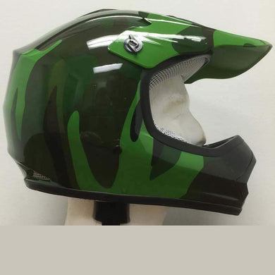 DOT Kids ATV - Dirt Bike - Motocross Helmets - Army Camo Camouflage / SKU GRL-DOTATVKIDSARMYCAMO-HI-dot motorcycle helmet-Ghost Rider Leather