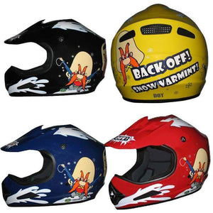 DOT Kids ATV - Dirt Bike - Snow Machine - Helmets - Back Off - Color Choice / SKU GRL-DOTATVKIDSBACKOFF-HI - Ghost Rider Leather