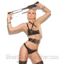 Ladies Three Piece Set - Leather Bra - Waist Cincher - Matching G-String - SKU GRL-L1940-EML - Ghost Rider Leather