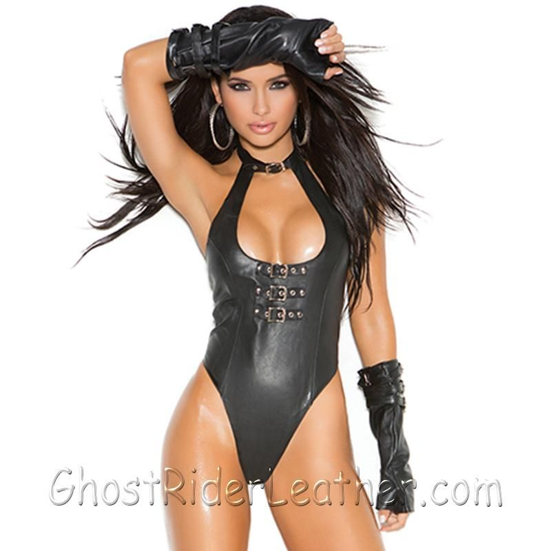 Ladies Leather Teddy With Buckle Front Detail and Thong Back - SKU GRL-L2256-EML-Intimate Apparel-Ghost Rider Leather