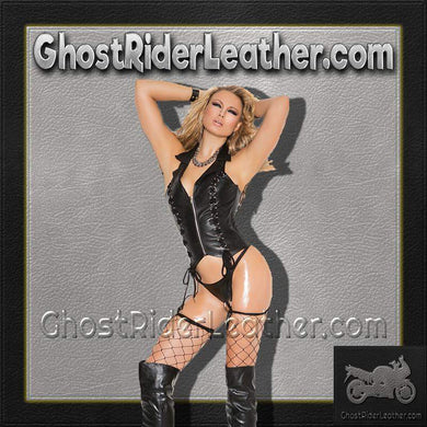 Ladies Zip Front Leather Corset With Lace Up Detail / SKU GRL-L3139-EML - Ghost Rider Leather