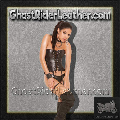 Ladies Strapless Leather Lace Up Corset / SKU GRL-L3521-EML - Ghost Rider Leather