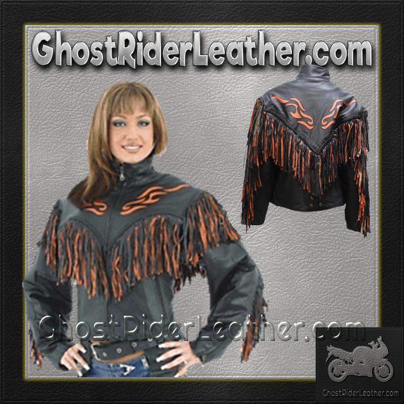 Ladies Leather Jacket With Orange Flames and Fringe / SKU GRL-LJ259-DL