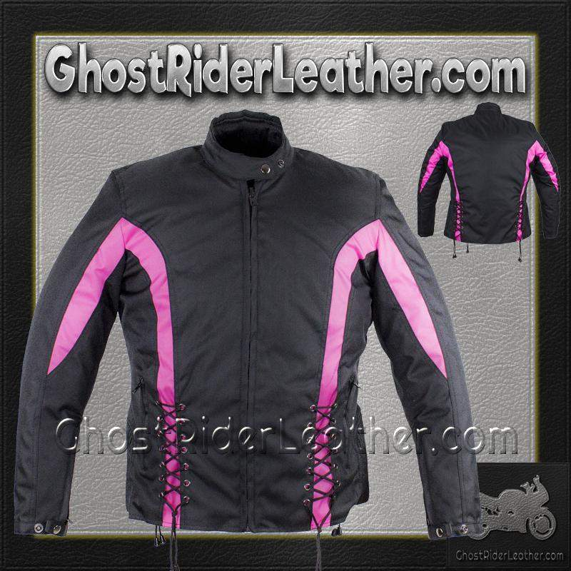 Ladies Textile Racing Jacket In Black and Pink / SKU GRL-LJ266-CCN-PINK-DL