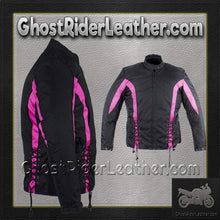 Ladies Textile Racing Jacket In Black and Pink / SKU GRL-LJ266-CCN-PINK-DL-ladies leather jacket-Ghost Rider Leather
