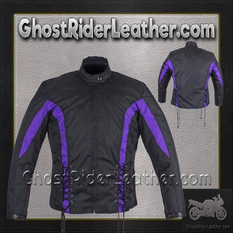 Ladies Textile Racing Jacket In Black and Purple / SKU GRL-LJ266-CCN-PURP-DL-ladies leather jacket-Ghost Rider Leather