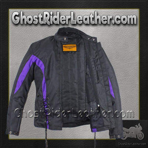 Ladies Textile Racing Jacket In Black and Purple - SKU GRL-LJ266-CCN-PURP-DL - Ghost Rider Leather